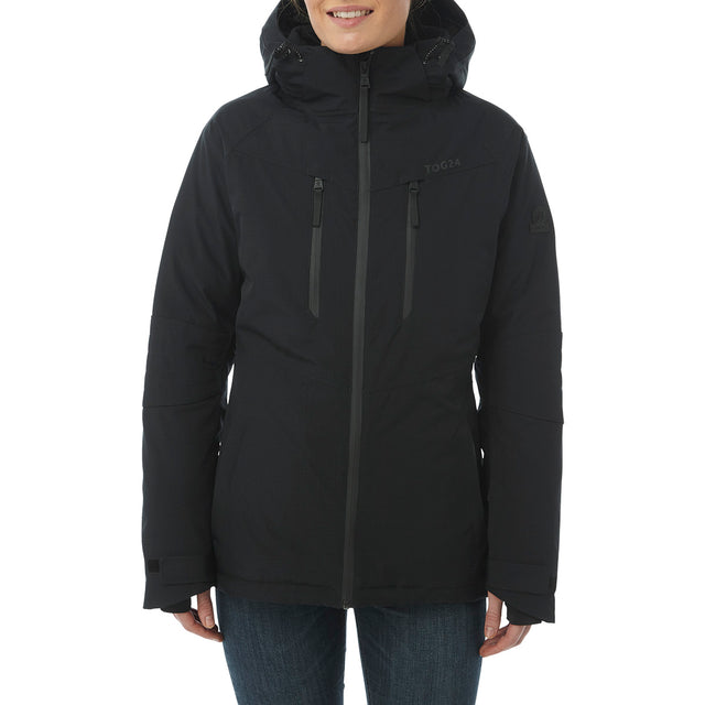 Riley Womens Waterproof Down Fill Ski Jacket - Black image 2