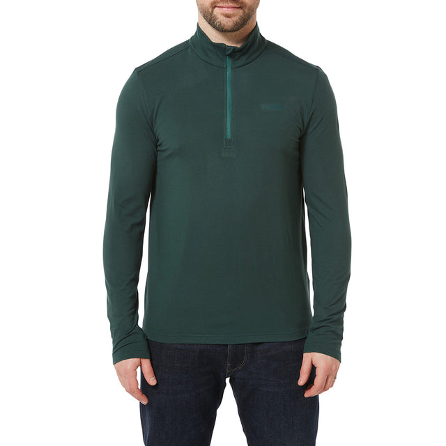 Robinson Mens Performance Zipneck - Forest Green image 2