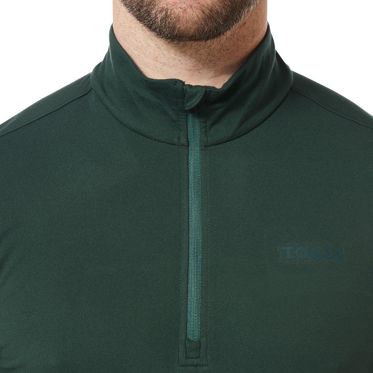 Robinson Mens Performance Zipneck - Forest Green image 4