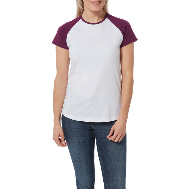 Saunders Womens T-Shirt - White/Mulberry image 2
