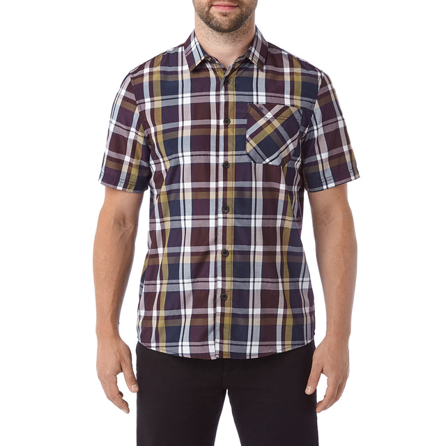 Selby Mens Shirt - Navy/Port/Honey image 2
