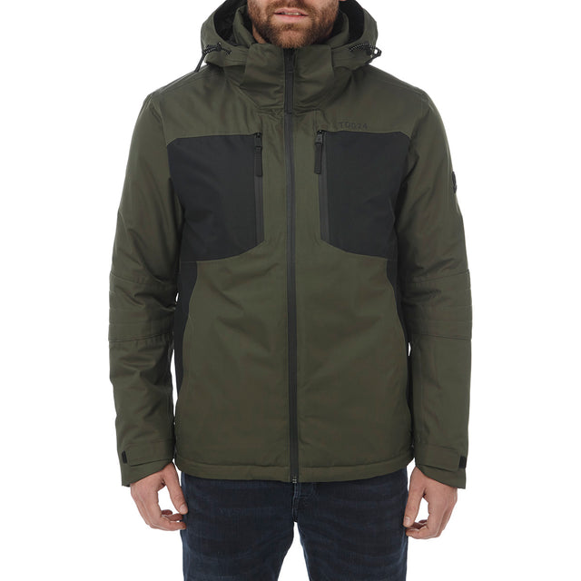 Sharp Mens Waterproof Insulated Ski Jacket - Dark Khaki/Black image 2