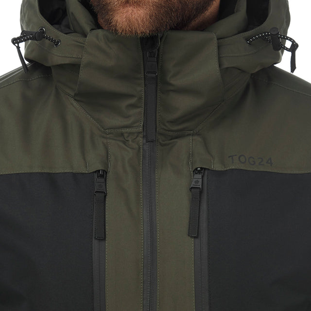 Sharp Mens Waterproof Insulated Ski Jacket - Dark Khaki/Black image 5