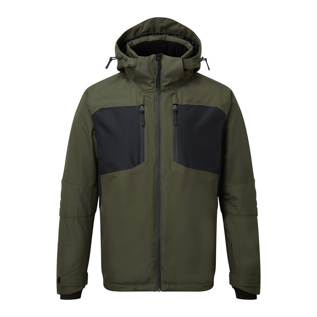 Sharp Mens Waterproof Insulated Ski Jacket - Dark Khaki/Black image 1