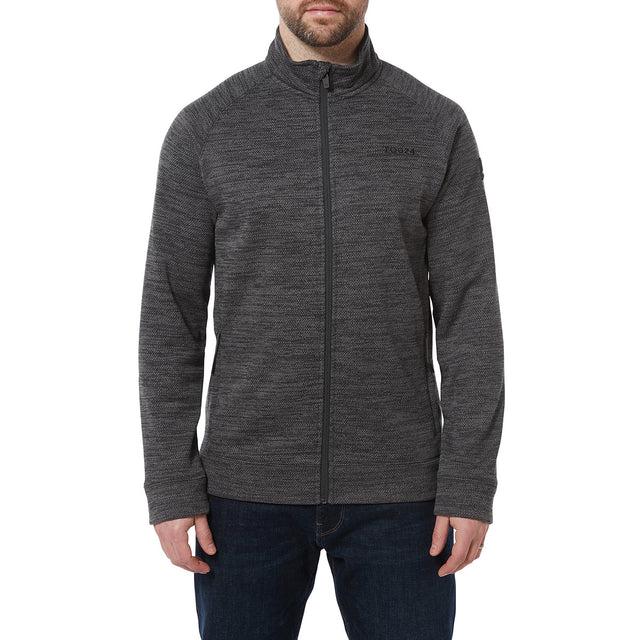 Simpson Mens Knit Look Fleece Jacket - Light Grey Marl image 2