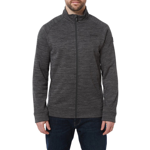 Simpson Mens Knit Look Fleece Jacket - Light Grey Marl
