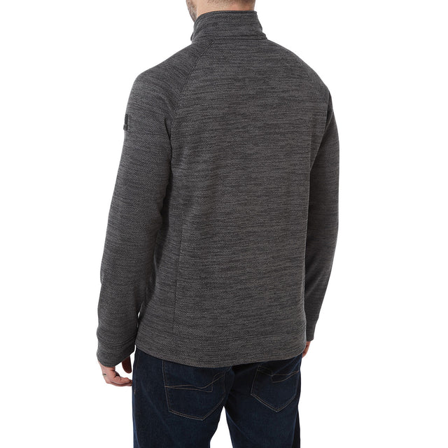 Simpson Mens Knit Look Fleece Jacket - Light Grey Marl image 3