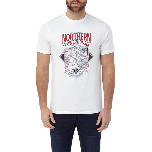 Kelton Mens Graphic T-Shirt Powerhouse - White image 2