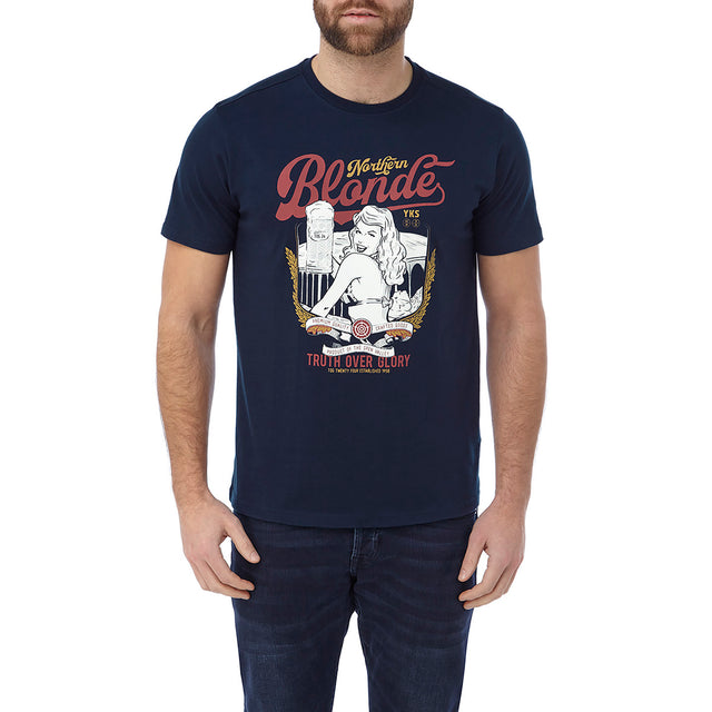 Kelton Mens Graphic T-Shirt Blonder - Navy image 2