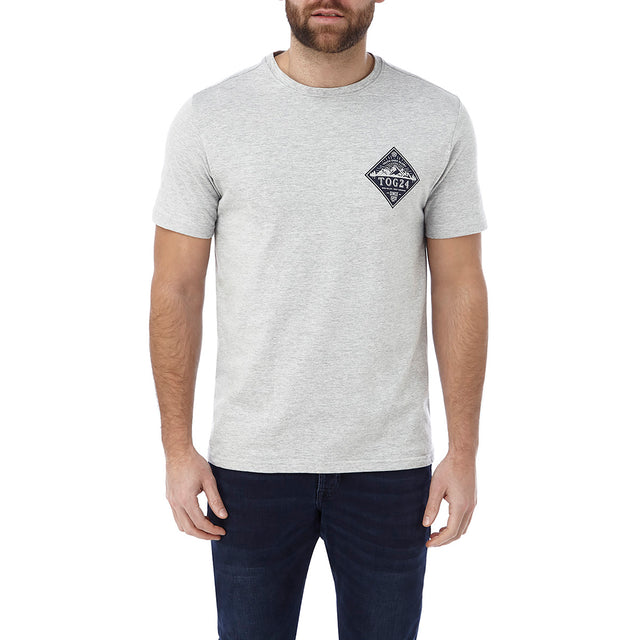 Kelton Mens Graphic T-Shirt Diamond - Grey Marl image 2