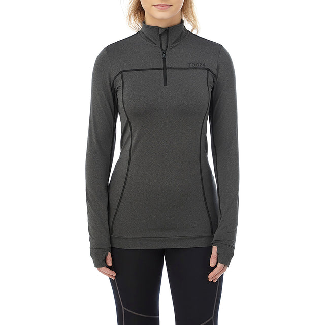 Sophia Womens Stretch Performance Zipneck - Grey Marl image 2