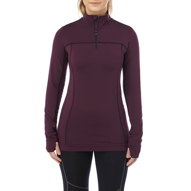 Sophia Womens Stretch Performance Zipneck - Deep Port image 2