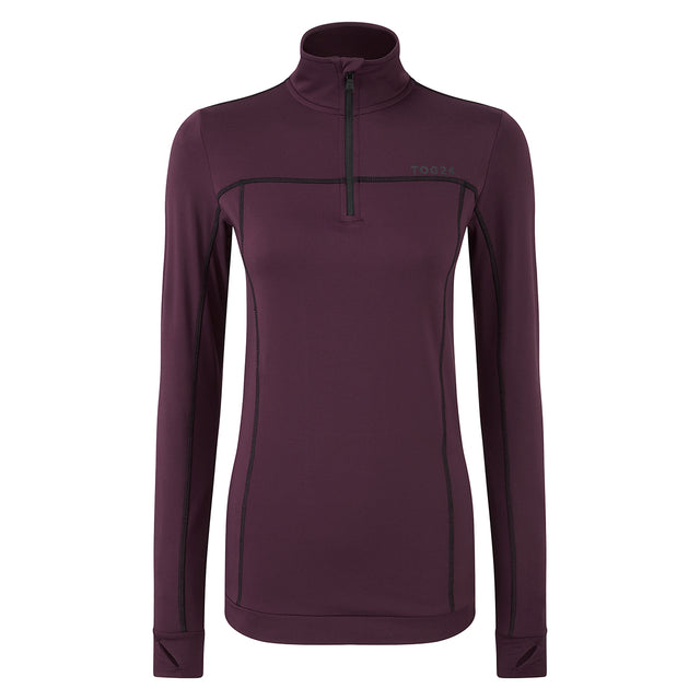Sophia Womens Stretch Performance Zipneck - Deep Port image 1