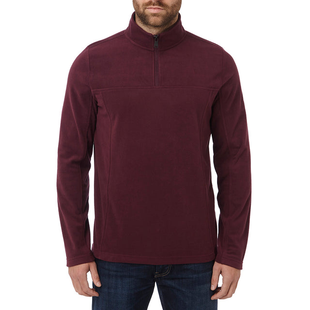 Spen Mens Microfleece Zipneck - Deep Port image 2