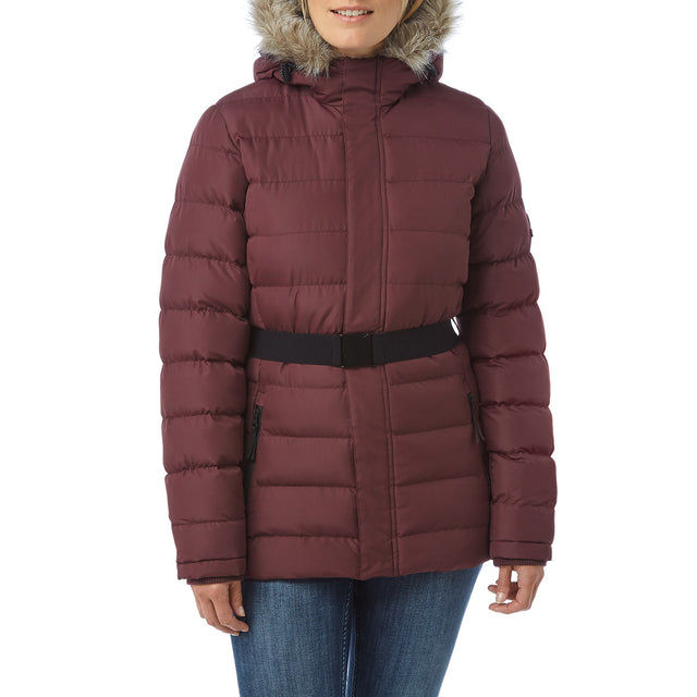 Storey Womens Long Insulated Jacket - Deep Port image 2