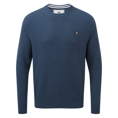 Turner Mens Cotton Crew Neck Jumper - Denim