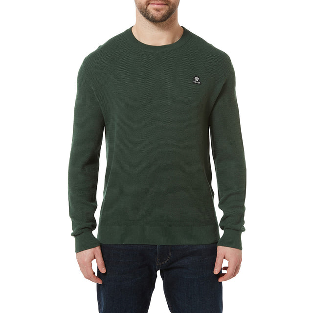 Turner Mens Cotton Crew Neck Jumper - Forest Green image 2