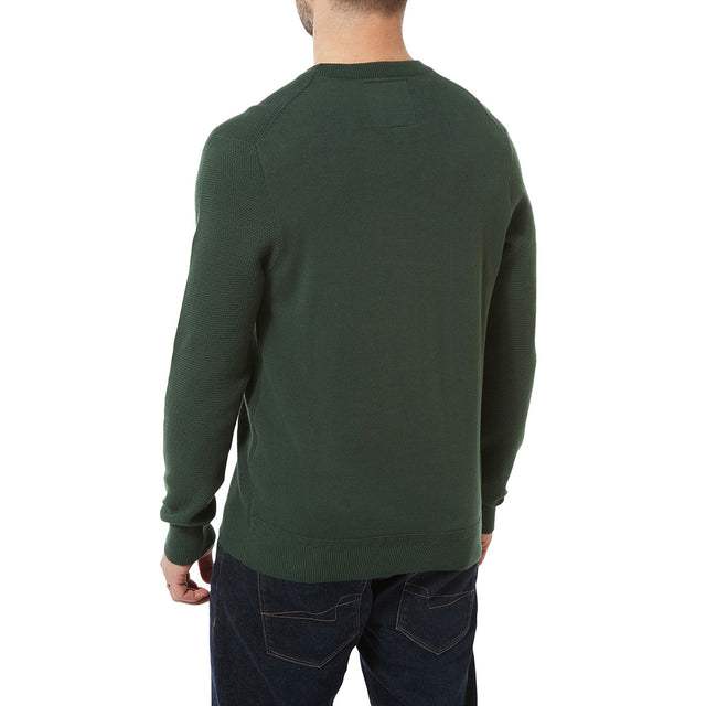 Turner Mens Cotton Crew Neck Jumper - Forest Green image 3