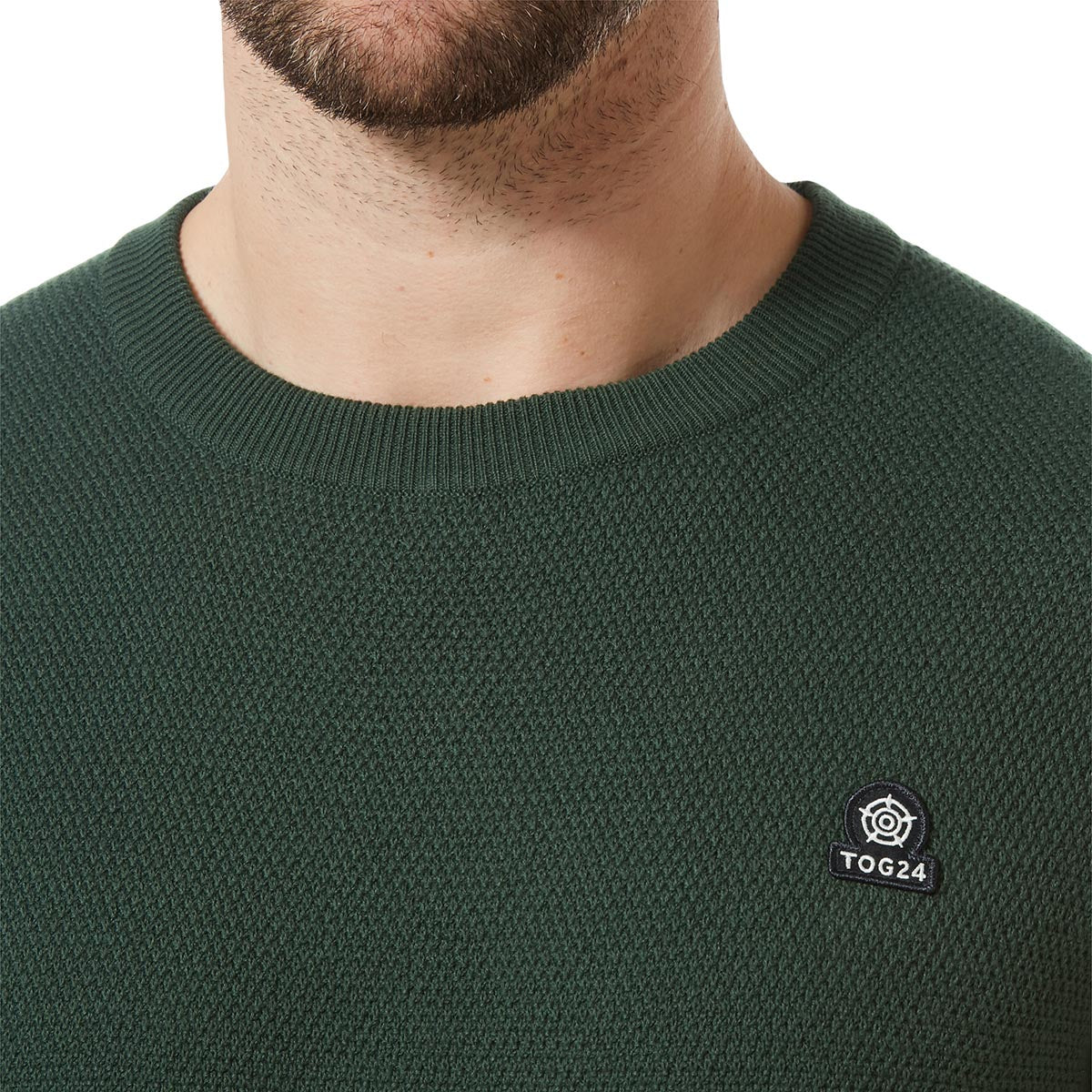 Turner Mens Cotton Crew Neck Jumper - Forest Green image 4