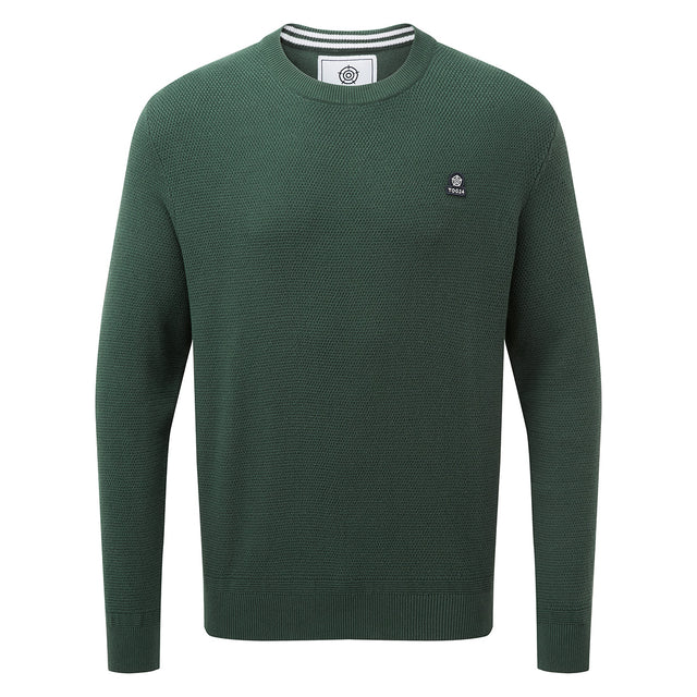 Turner Mens Cotton Crew Neck Jumper - Forest Green image 1