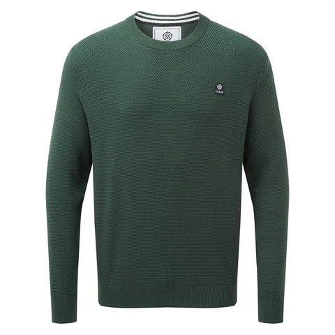 Turner Mens Cotton Crew Neck Jumper - Forest Green