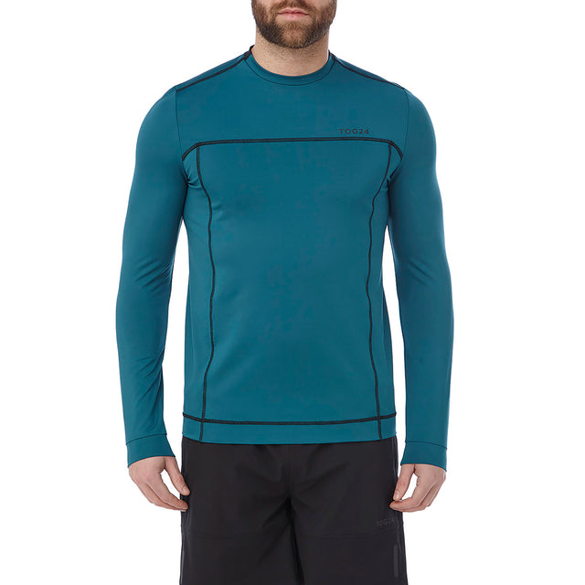 Vault Mens Long Sleeve Performance T-Shirt - Lagoon Blue image 2
