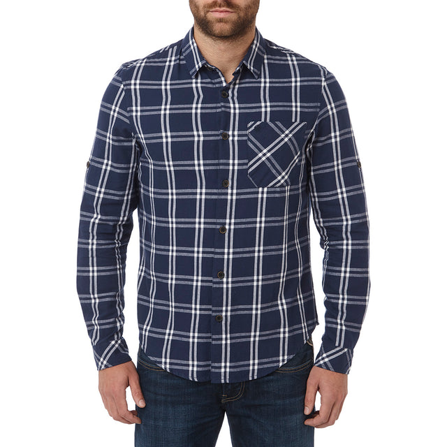 Victor Mens Long Sleeve Flannel Shirt - Navy Check image 2