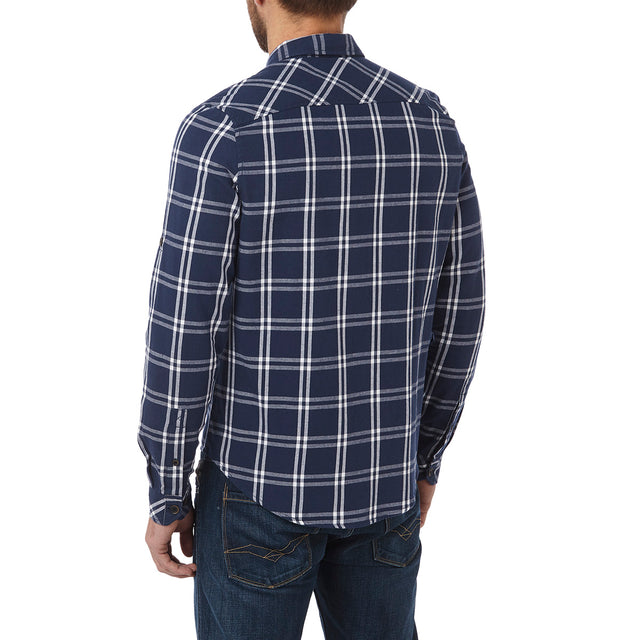 Victor Mens Long Sleeve Flannel Shirt - Navy Check image 3