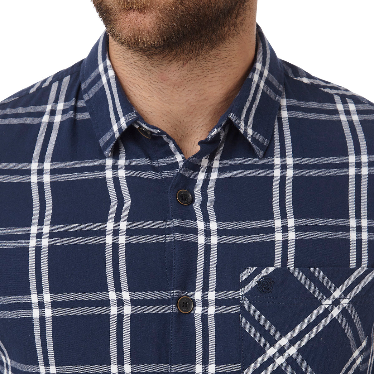Victor Mens Long Sleeve Flannel Shirt - Navy Check image 4