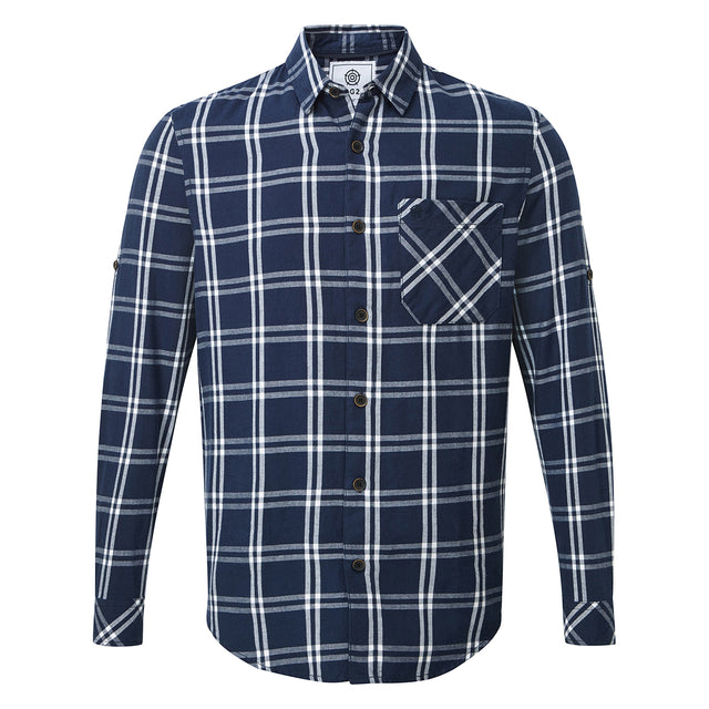 Victor Mens Long Sleeve Flannel Shirt - Navy Check image 1