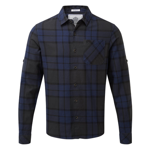 Wallace Mens Flannel Check Long Sleeve Shirt - Navy
