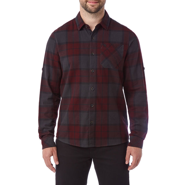 Wallace Mens Flannel Check Long Sleeve Shirt - Deep Port image 2