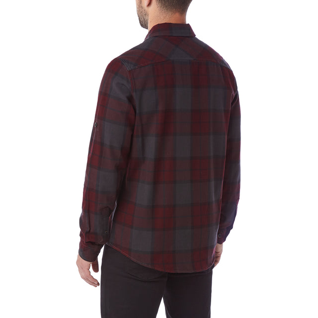 Wallace Mens Flannel Check Long Sleeve Shirt - Deep Port image 3