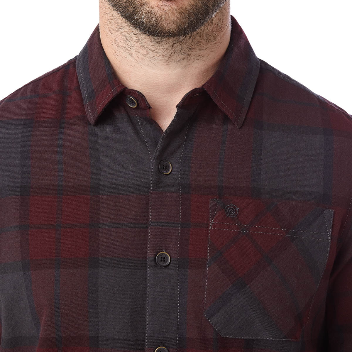 Wallace Mens Flannel Check Long Sleeve Shirt - Deep Port image 4