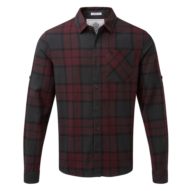 Wallace Mens Flannel Check Long Sleeve Shirt - Deep Port image 1