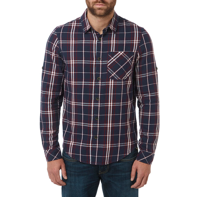 Walter Mens Long Sleeve Flannel Shirt - Navy Check image 3