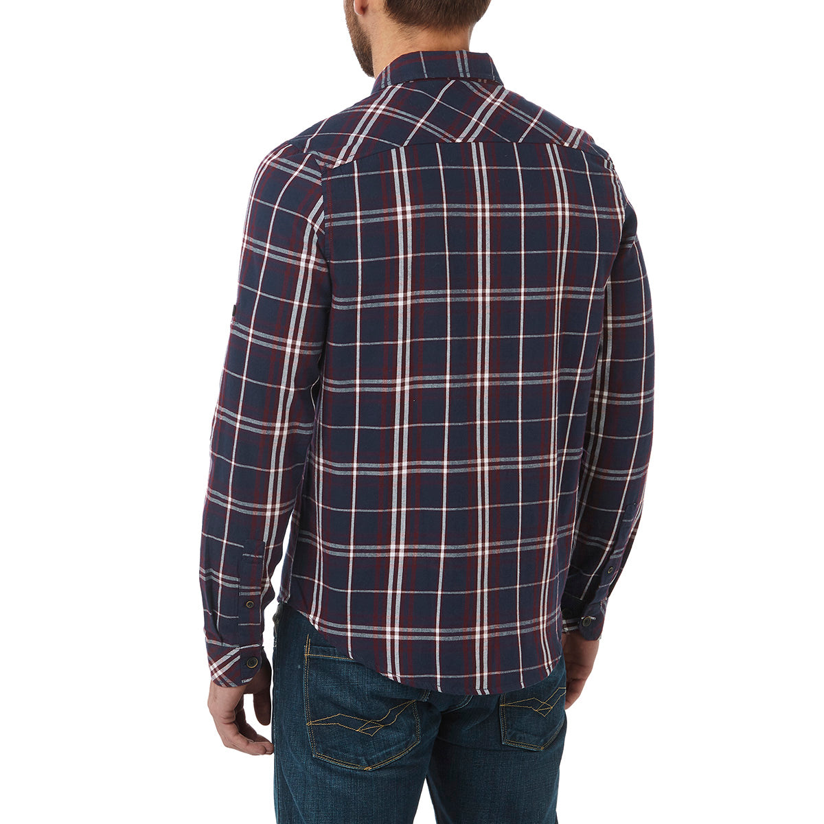 Walter Mens Long Sleeve Flannel Shirt - Navy Check image 4