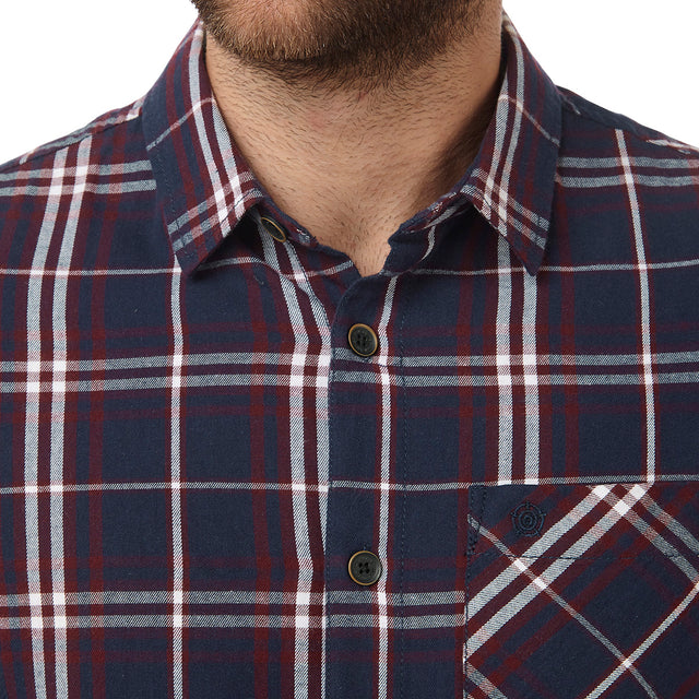 Walter Mens Long Sleeve Flannel Shirt - Navy Check image 2