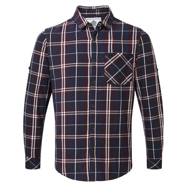 Walter Mens Long Sleeve Flannel Shirt - Navy Check image 1