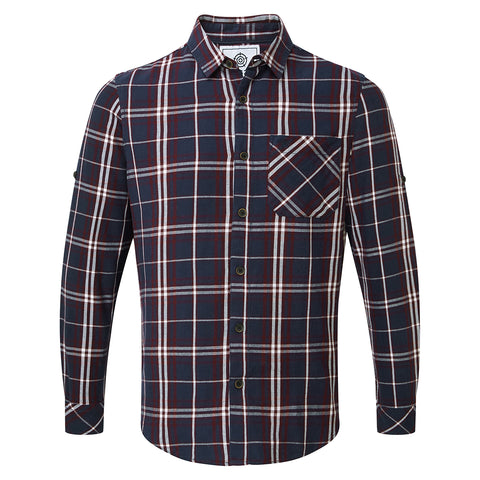 Walter Mens Long Sleeve Flannel Shirt - Navy Check