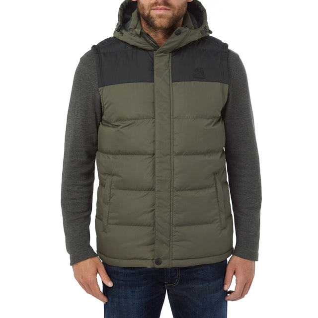Worth Mens TCZ Thermal Gilet - Dark Khaki/Black image 2