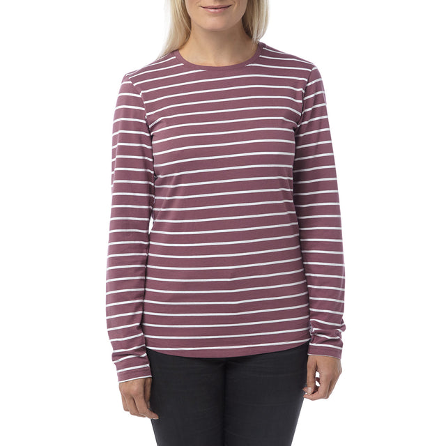 Wynne Womens Stripe Long Sleeve T-Shirt - Mauve image 2