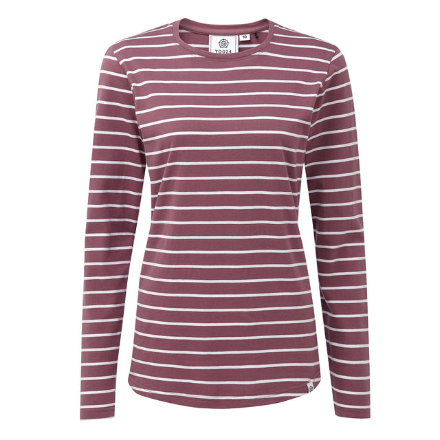 Wynne Womens Stripe Long Sleeve T-Shirt - Mauve image 1