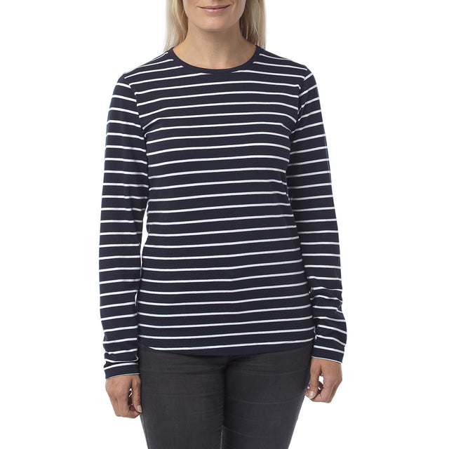 Wynne Womens Stripe Long Sleeve T-Shirt - Navy image 2