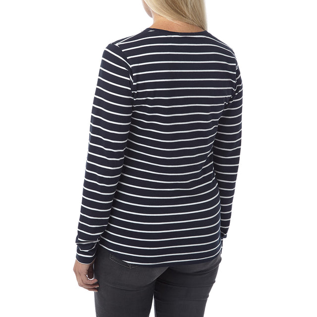 Wynne Womens Stripe Long Sleeve T-Shirt - Navy image 3