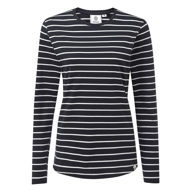 Wynne Womens Stripe Long Sleeve T-Shirt - Navy image 1