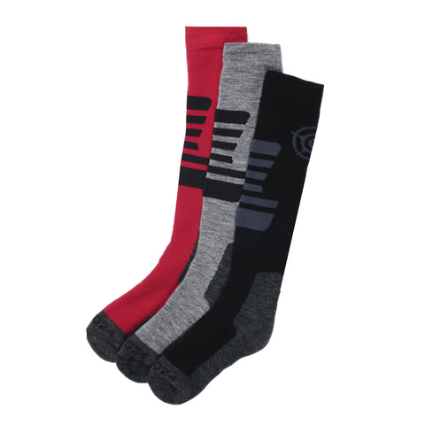 Oberau Kids 3 Pack Merino Ski Socks - Black/Grey Marl/Rumba
