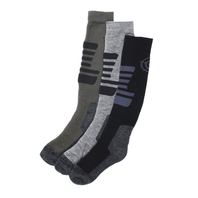 Oberau Kids 3 Pack Merino Ski Socks - Black/Grey Marl/Khaki