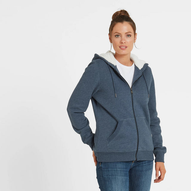 Ada Womens Zip Sherpa Hoody - Atlantic Blue Marl image 2