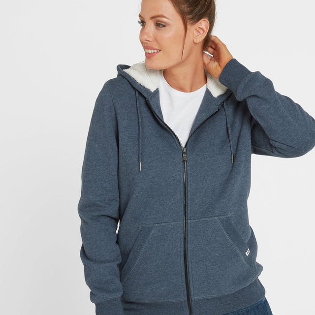 Ada Womens Zip Sherpa Hoody - Atlantic Blue Marl image 1